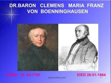 dr.baron clemens maria franz von boenninghausen - Similima