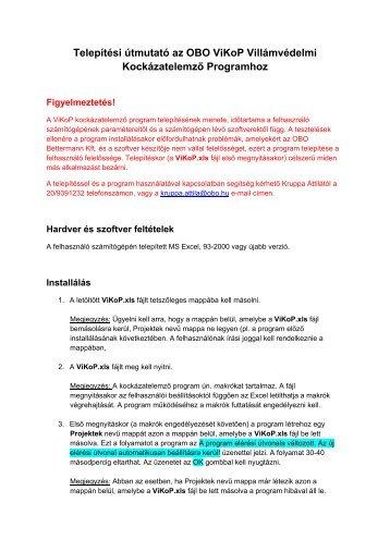 Telepítési útmutató az OBO ViKoP Villámvédelmi ... - OBO Bettermann