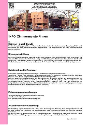 INFO Zimmermeister/innen - Heinrich Hübsch Schule