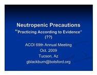 Neutropenic Precautions: Where's The Data?