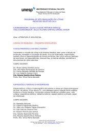linhas de pesquisa e corpo docente - UNESP-Assis