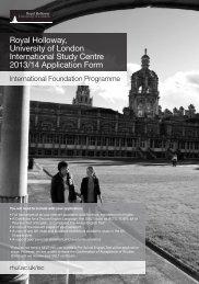 Application Form - Royal Holloway, University of London