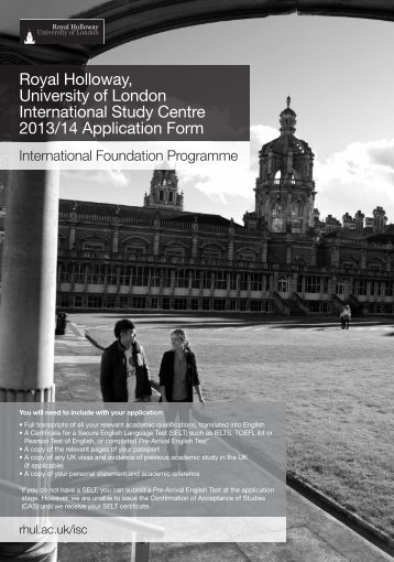 Application Form - Royal Holloway, University of London