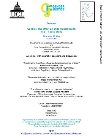Seminar Conflict: The effect on child mental health Iraq – a case study