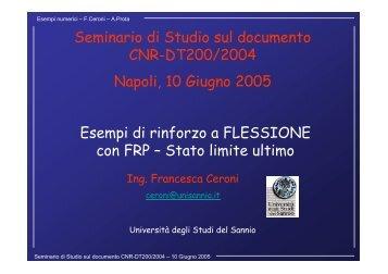 Esempi di rinforzo a FLESSIONE con FRP - Università degli Studi di ...