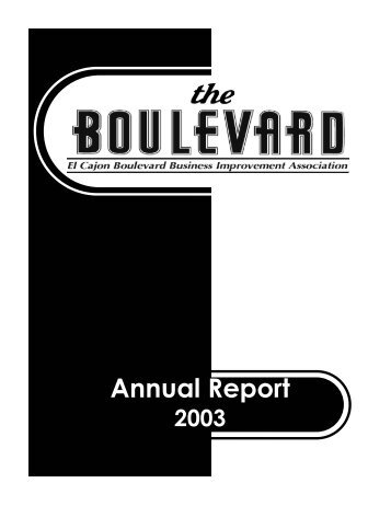 Annual Report 2003 - El Cajon Boulevard Business Improvement ...