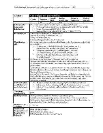 Modul 1 Grundlagen des Journalismus - Journalismus Darmstadt