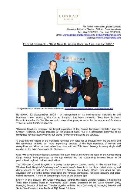 "Conrad Bangkok - ""Best New Business Hotel in Asia - Hilton"