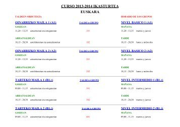 Horarios de grupos 2013-2014