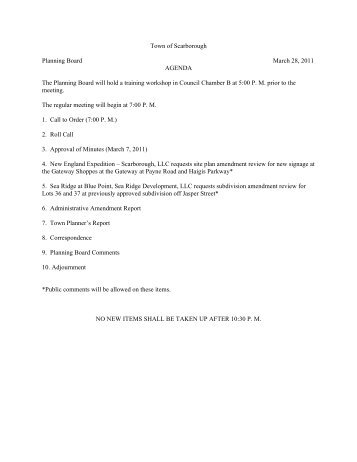 Town of Scarborough Planning Board March 28, 2011 AGENDA The ...