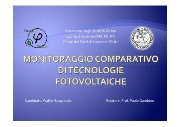 Monitoraggio comparativo di tecnologie fotovoltaiche - INFN - Torino ...