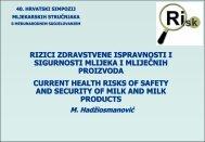 Suvremeni rizici zdravstvene ispravnosti i sigurnosti mlijeka i