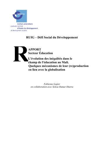 RUIG – Défi Social du Développement APPORT ... - RUIG-GIAN