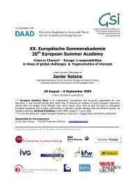 XX. Europäische Sommerakademie 20 European Summer Academy ...