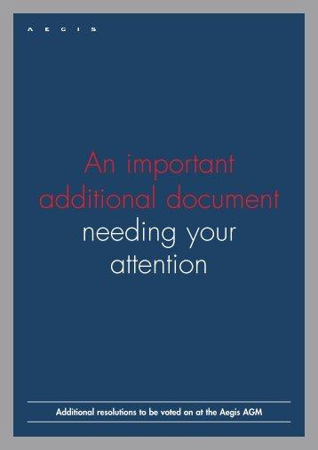 An important additional document needing your ... - Aegis Media