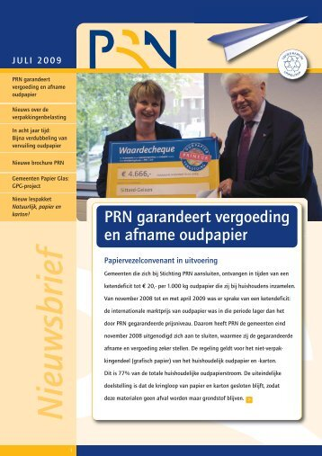 PRN Nieuwsbrief 2009 - Stichtingen Papier Recycling Nederland