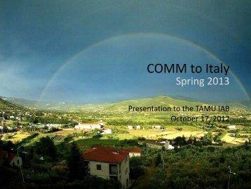 COMM to Italy!
