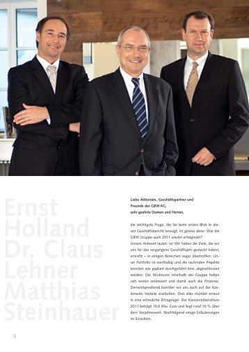 Ernst Holland Dr. Claus Lehner Matthias Steinhauer - GBW Gruppe
