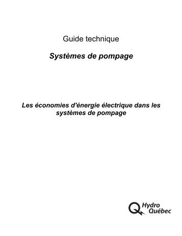 Guide technique Systèmes de pompage - UQAC