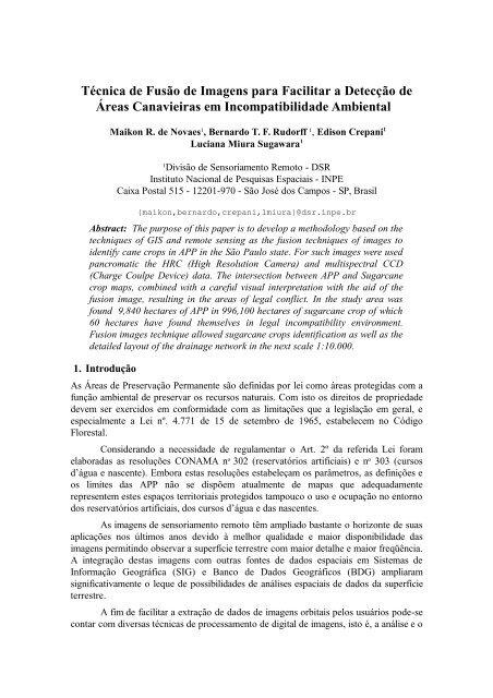 Técnica de Fusão de Imagens para Facilitar a Detecção de Áreas ...
