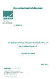 Working Paper n° 2011-32 La recomposition de l'industrie nucléaire ...