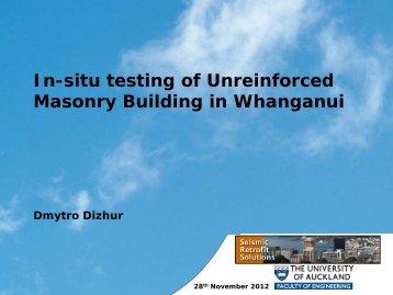 In-situ testing of URM buildings in Whanganui