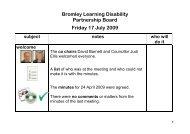 Draft Minutes - 17 July 2009 - Bromley Partnerships