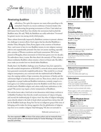From the Editor's Desk - International Journal of Frontier Missions