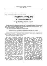 Psychospołeczna dynamika zmian wyników leczenia i rehabilitacji w ...