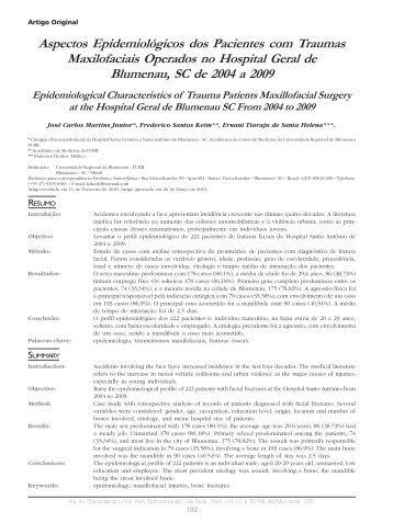 Aspectos Epidemiológicos dos Pacientes com Traumas ...