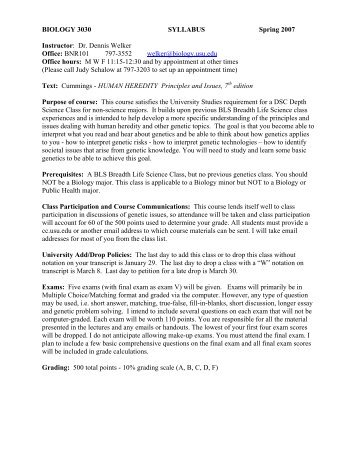 BIOLOGY 3030 SYLLABUS Spring 2007 Instructor: Dr. Dennis ...