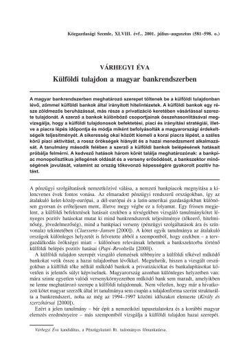 Külföldi tulajdon a magyar bankrendszerben - EPA
