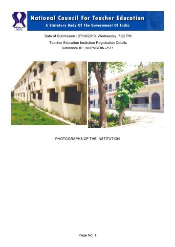 Page No: 1 Date of Submission : 27/10/2010, Wednesday 7 ... - NCTE