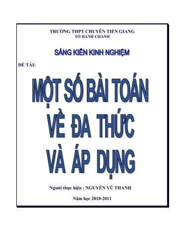 MỘT SỐ BÀI TOÁN VỀ ĐA THỨC VÀ ÁP DUNG - Trường THPT ...