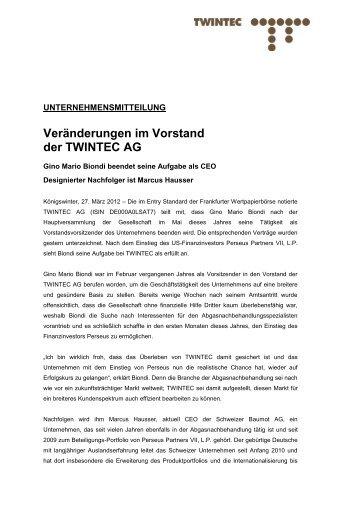 Veränderungen im Vorstand der TWINTEC AG
