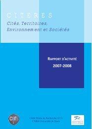 Rapport d'activité 2007-2009 - citeres - Université François Rabelais