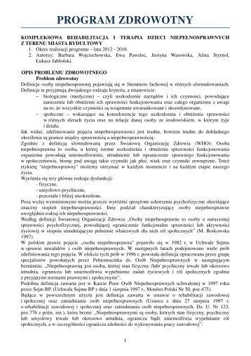program zdrowotny 2012-2016 - Rydułtowy, Urząd Miasta