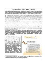 - SUMER 2003 - pour l'action syndicale - Comprendre pour agir