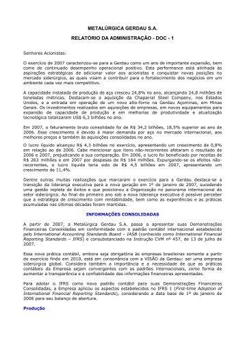 metalúrgica gerdau sa relatório da administração - doc - 1