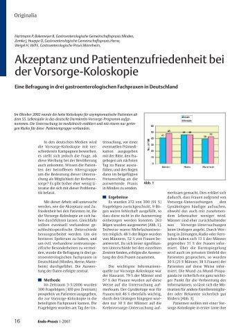 Akzeptanz und Patientenzufriedenheit bei der Vorsorge-Koloskopie
