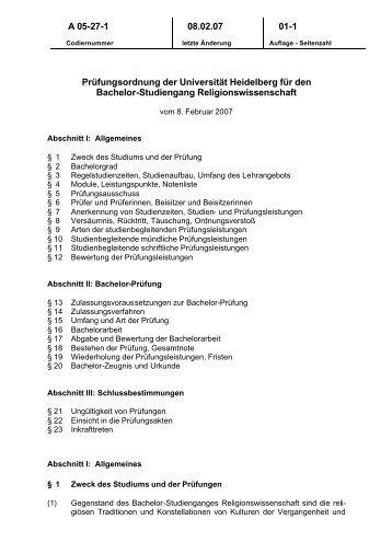 Prüfungsordnung BA Religionswissenschaft (pdf) - ZEGK