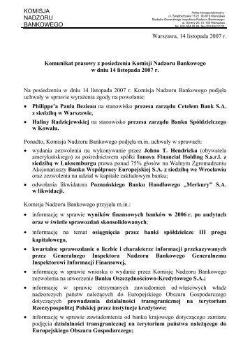 Komunikat prasowy z posiedzenia Komisji Nadzoru Bankowego w