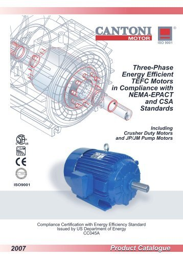 Three-phase motors according to NEMA-EPACT - Cantoni Group