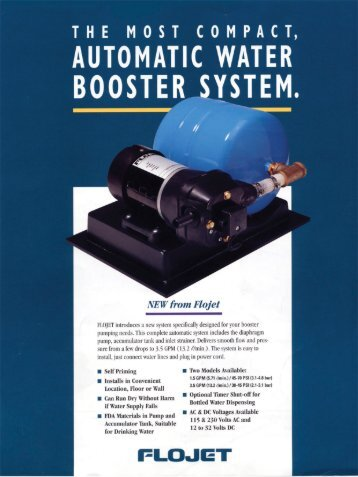 Flojet water booster system - Manitowoc Beverage Systems