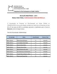 convocação para matrícula - Fiocruz