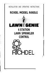 Lawn Genie Richdel R406DLG Controller Owner's ... - Irrigation Direct