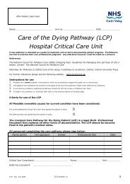 Care of the Dying Pathway (LCP) Hospital ... - NHS Forth Valley