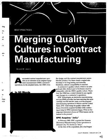 Merging Quality Cultures in Contract - ITCJ