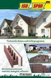 Technische Daten und Lieferprogramm - Isospan, Baustoffwerk GmbH