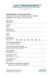 Anmeldeformular – Ehrung treuer Gäste Formulaire d'inscription ...